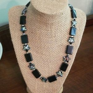 Black Statement Necklace with glass flower beads